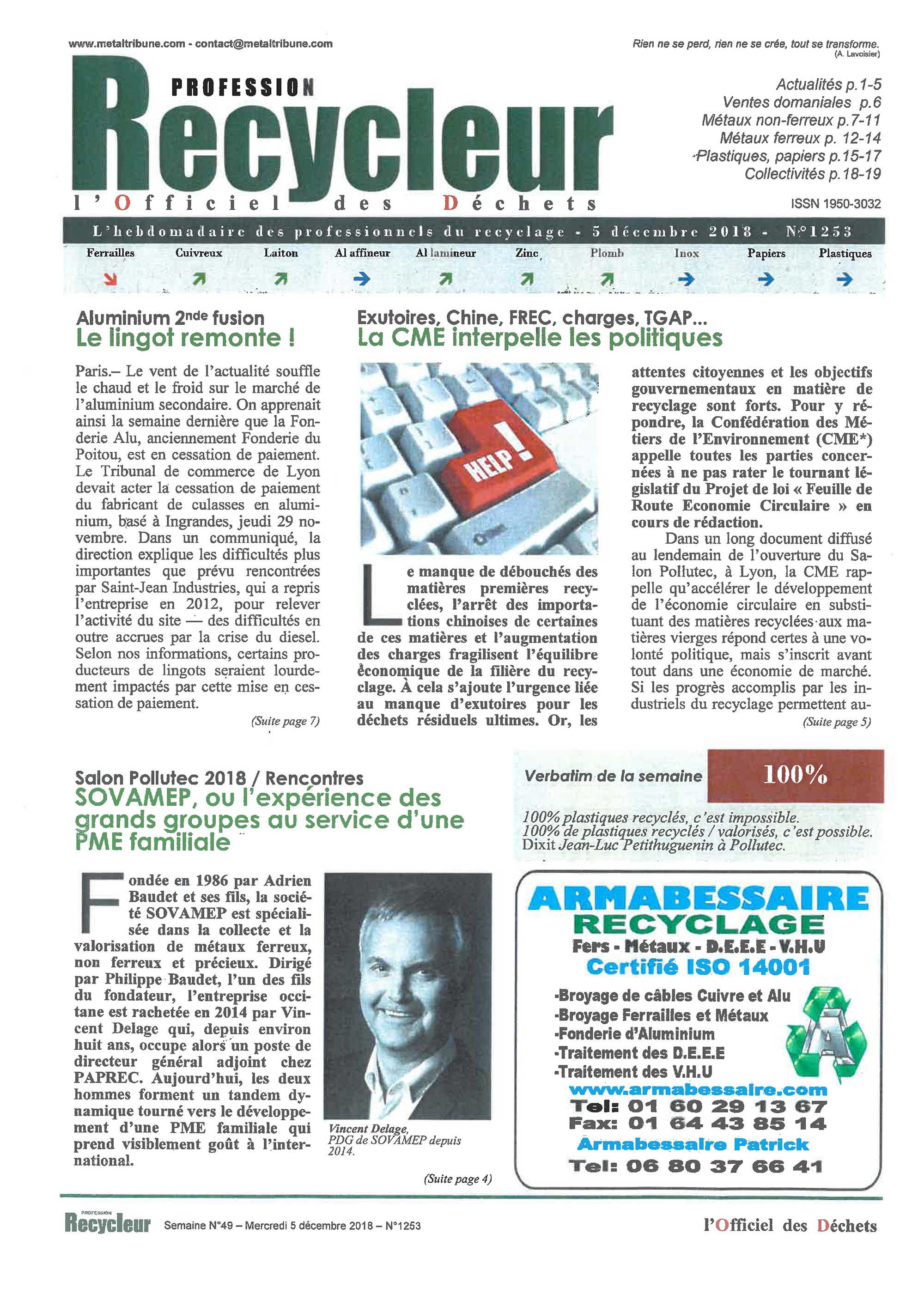 article recycleur sovamep entreprise dechets recyclage international Page 1